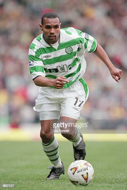 Didier Agathe of Celtic runs wth the ball during the Tennants Scottish Cup Semifinal between Celtic and Dundee United played at Hampden Park Glasgow...