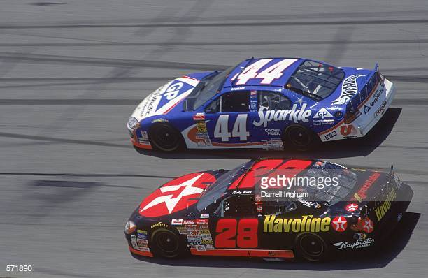 Driver Ricky Rudd in the Texaco Havoline Ford Taurus for Robert Yates Racing races with car during the Talladega 500 presented by NAPA part of the...