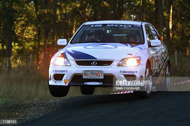 Former Australian Rally Champion Neil Bates and co driver Coral Taylor launch there Lexus IS 200 during the Targa Tasmaina Australia DIGITAL IMAGE...