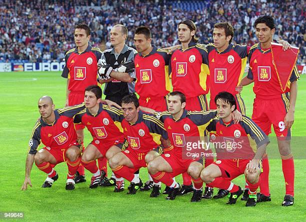 Galatasaray team group before the UEFA Champions League Quarter Finals second leg match against Real Madrid played at the Bernabeu in Madrid Spain...
