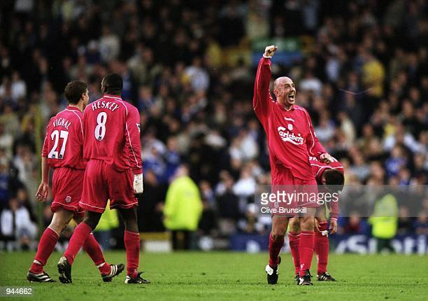 Gary McAllister of Liverpool celebrates his amazing winner during the FA Carling Premiership match against Everton played at Goodison Park in...