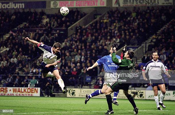 Gudni Bergsson of Bolton Wanderers rises to head home during the Nationwide League Division One match against Birmingham City at the Reebok Stadium...