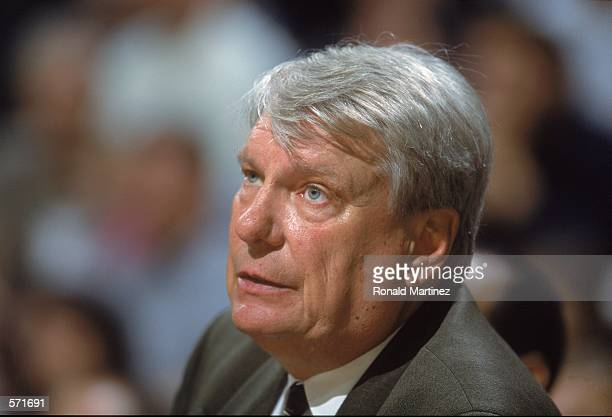 Head Coach Don Nelson of the Dallas Mavericks looks on from the bench during the game against the Atlanta Hawks at Reunion Arena in Dallas Texas The...