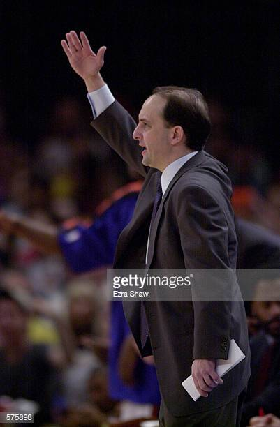 Head coach Jeff Van Gundy of the New York Knicks reatcs during game 1 of round one against the Toronto Raptors in the NBA Playoffs at Madison Square...