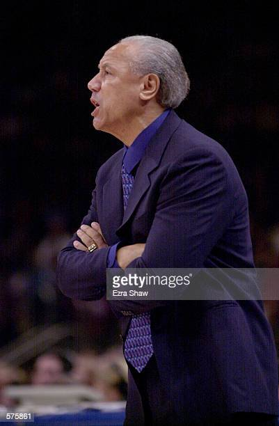 Head Coach Lenny Wilkens of the New York Knicks during game 1 of round one in the NBA Playoffs at Madison Square Garden in New York New York The...