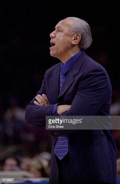 Head Coach Lenny Wilkens of the Toronto Raptors during game 1 of round one in the NBA Playoffs at Madison Square Garden in New York New York The...