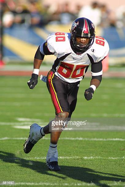 James Hundon of the San Francisco Demons runs downfield against the Los Angeles Xtreme during the XFL Championship game at the Los Angeles Coliseum...