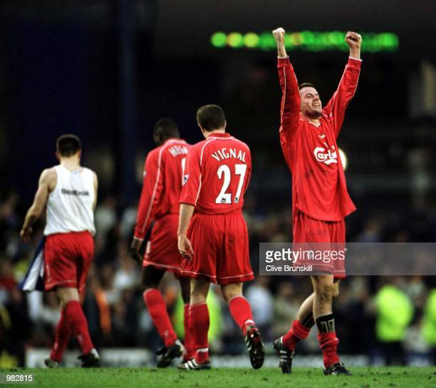 Jamie Carragher of Liverpool celebrates after the Everton v Liverpool FA Carling Premiership match at Goodison Park Everton Mandatory Credit Clive...