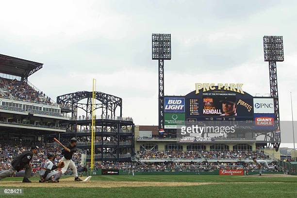 Jason Kendall of the Pittsburgh Pirates stands at bat during an exhibition game against the New York Mets at PNC Park in Pittsburgh Pennsylvania...