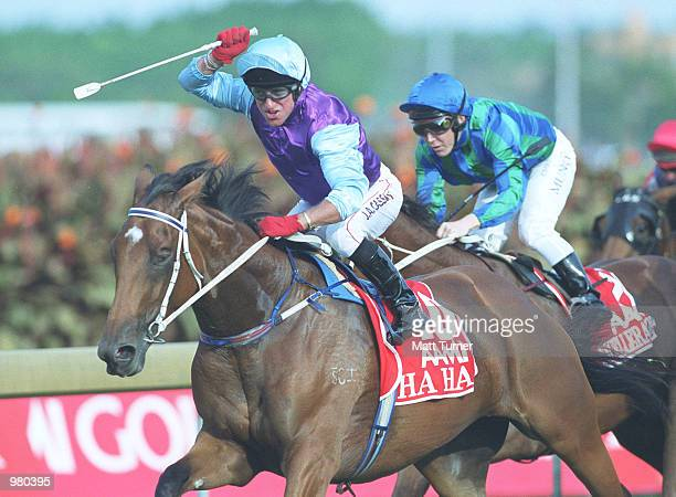 Jim Cassidy aboard HA HA trained by Gai Waterhouse wins the Golden Slipper during the group 1 AAMI Golden Slipper held Rosehill Gardens Sydney Turf...