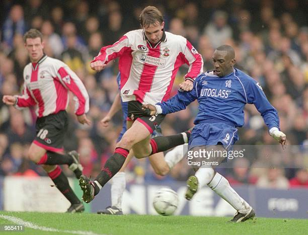 Jimmy Floyd Hasselbaink of Chelsea takes on Claus Lundekvam of Southampton during the FA Carling Premiership match at Stamford Bridge in London...