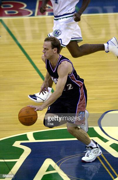 John Crotty of the Utah Jazz in action during game three of round one of the NBA playoffs against the Dallas Mavericks at the Reunion Arena in Dallas...