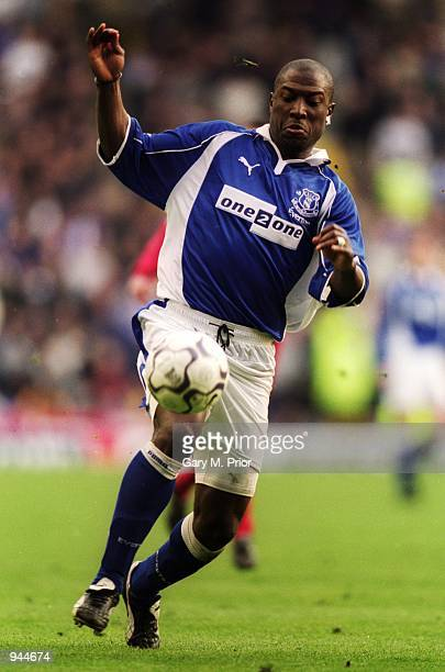 Kevin Campbell of Everton runs with the ball during the FA Carling Premiership match against Liverpool played at Goodison Park in Liverpool England...