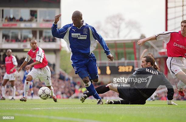 Kevin Campbell of Everton scores during the FA Carling Premiership match against Arsenal played at Highbury in London Arsenal won the match 41...