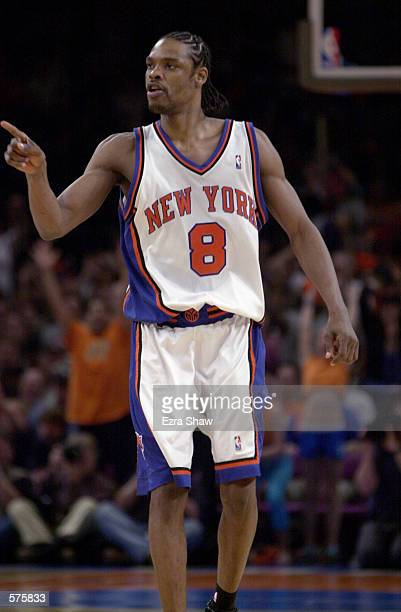 Latrell Sprewell of the New York Knicks reacts during game 1 of round one in the NBA Playoffs against the Toronto Raptors at Madison Square Garden in...