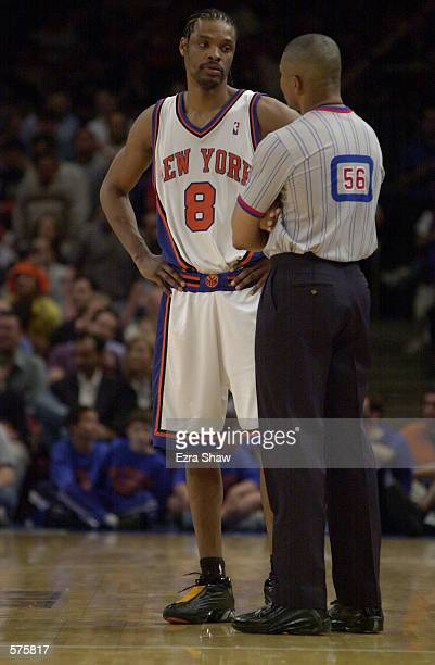 Latrell Sprewell of the New York Knicks talks to a referee during game 1 of round one in the NBA Playoffs against the Toronto Raptors at Madison...