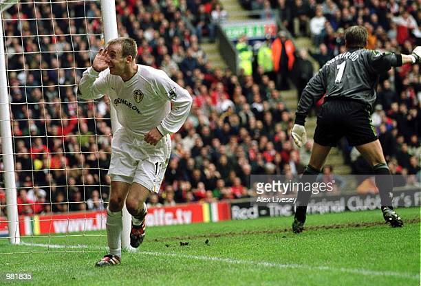 Lee Bowyer of Leeds celebrates after scoring the second goal during the Liverpool v Leeds United FA Carling Premiership match at Anfield Liverpool...