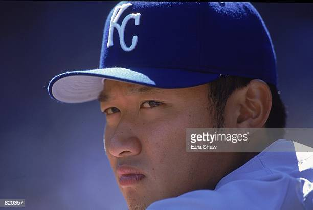 Mac Suzuki of the Kansas City Royals looks on during the game against the New York Yankees at Yankee Stadium in Bronx New York The Yankees defeated...