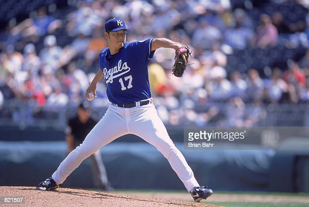 Mac Suzuki of the Kansas City Royals pulls back to pitch during the game against the Minnesota Twins at the Kauffman Stadium in Kansas City Missouri...