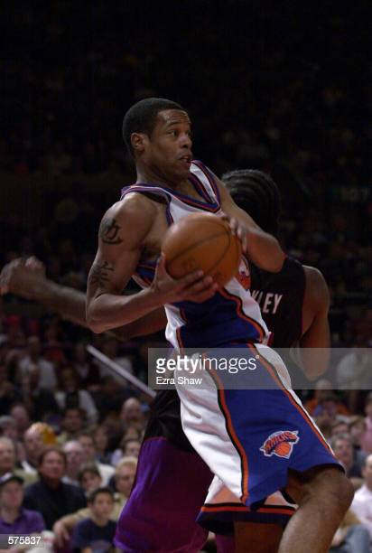 Marcus Camby of the New York Knicks in action against the Toronto Raptors during game 1 of round one in the NBA Playoffs at Madison Square Garden in...