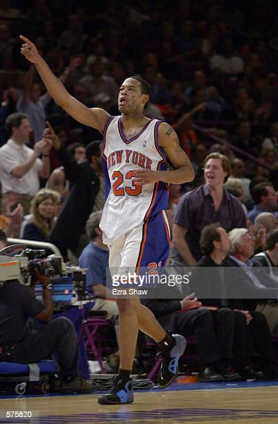 Marcus Camby of the New York Knicks reacts during game 1 of round one in the NBA Playoffs against the Toronto Raptors at Madison Square Garden in New...