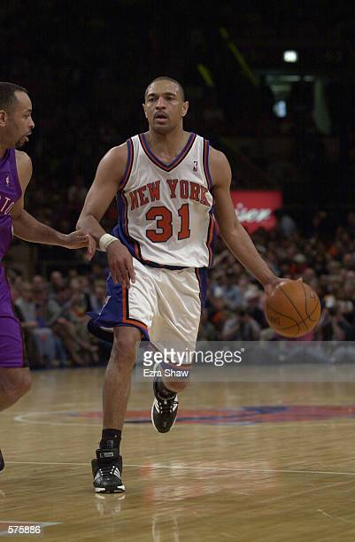 Mark Jackson of the New York Knicks in action against the Toronto Raptors during game 1 of round one in the NBA Playoffs at Madison Square Garden in...