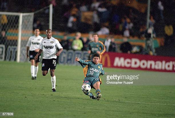 18f64cbde1e Mauricio Cienfuegos of the Los Angeles Galaxy slides kicks the ball during  the game against the