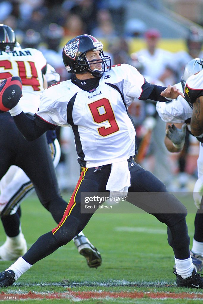 mike pawlawski 9 looks downfield to pass against the los angeles xtreme during the xfl