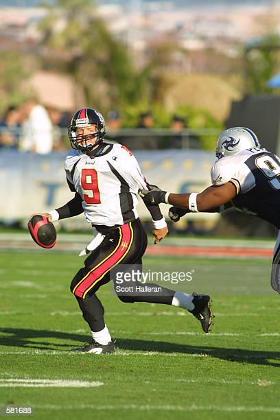 Mike Pawlawski runs from a Los Angeles Xtreme defender during the XFL Championship game at the Los Angeles Coliseum in Los Angeles California DIGITAL...