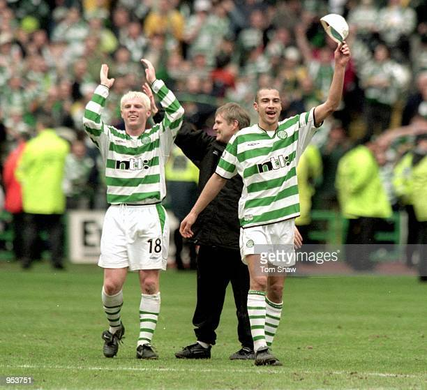 Neil Lennon and Henrik Larsson celebrate winning the Scottish Premier League Title after beating St Mirren at Celtic Park in Glasgow Scotland Celtic...