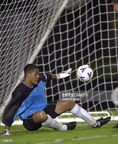 Nicky Salapu of American Samoa has another goal scored against him by the Socceroos during the Oceania group one World Cup qualifier match between...