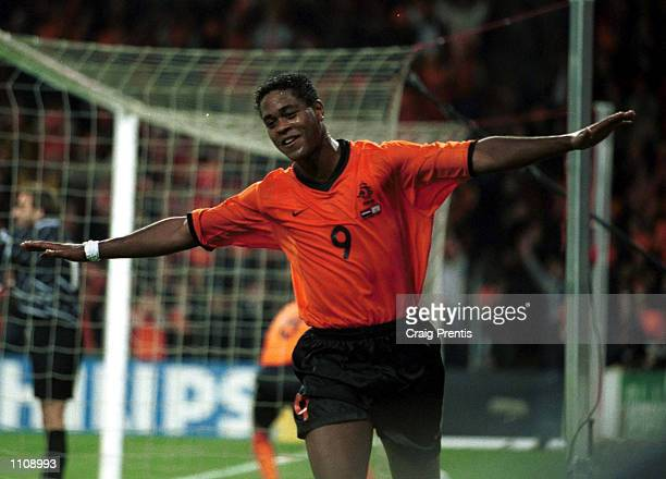 Patrick Kluivert of Holland celebrates scoring during the match between Holland and Cyprus in the World Cup European qualifying group two at the...