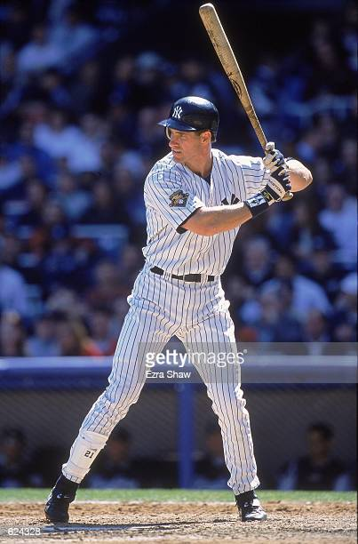 Paul O''Neill of the New York Yankees stands ready at bat during the game against the Kansas City Royals at Yankee Stadium in Bronx New York The...