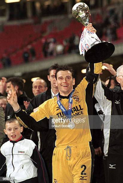 Port Vale captain Matthew Carragher with the LDV Vans Trophy after their twoone victory in the match between Brentford and Port Vale in the LDV Vans...
