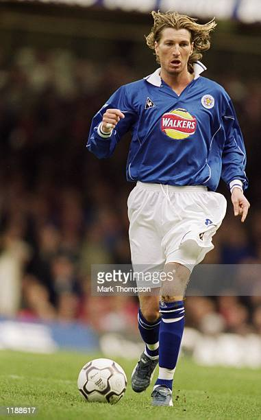 Robbie Savage of Leicester City runs with the ball during the FA Carling Premiership match against Middlesbrough played at Filbert Street in...