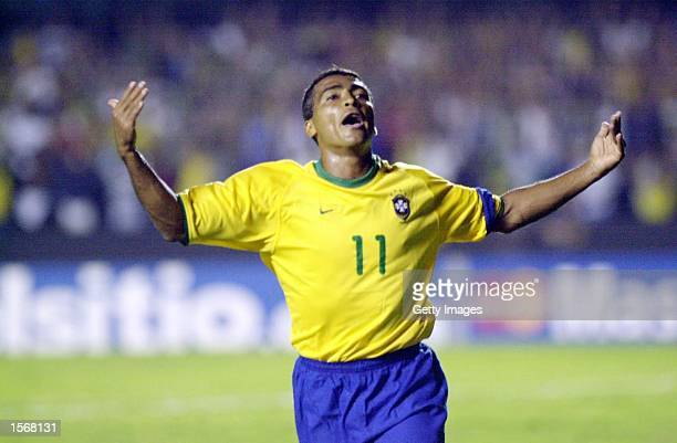 Romario of Brasil celebrates after scoring a goal during the Brasil v Peru match played at the Morumbi Stadium Sao Paulo Brazil DIGITAL IMAGE...