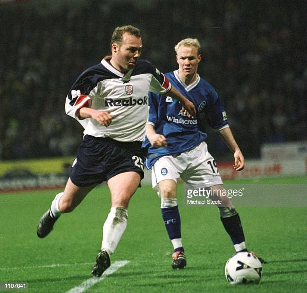 Simon Charlton of Bolton holds off Andrew Johnspn of Birmingham during the match between Bolton Wanderers and Birmingham City in the Nationwide...