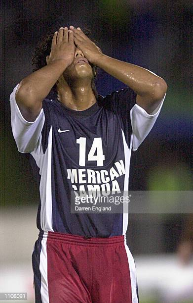 Soga Maina of American Samoa shows his disappointment after losing 13 to nil to Fiji during the Oceania group one World Cup qualifier match between...