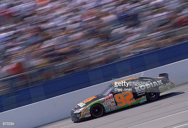 Stacy Compton who drives the Dodge Intrepid for Melling Racing speeds down the track during the Talladega 500 presented by NAPA part of the NASCAR...