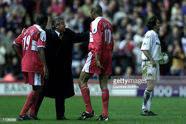 Terry Venables of Middlesbroughcomes onto the field to give instruction afterChristian Karembeu is sent off during the FA Carling Premiership game...