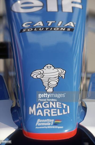 The Michelin Man detail on the nosecone of a Benetton B201 race car during the Spanish Formula One Grand Prix at the Circuit de Catalunya in...