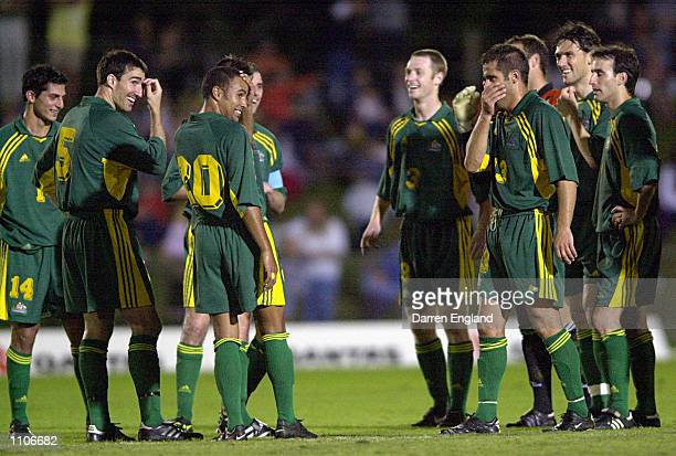 The Socceroos share a joke during their win over American Samoa during the Oceania group one World Cup qualifier match between Australia and American...