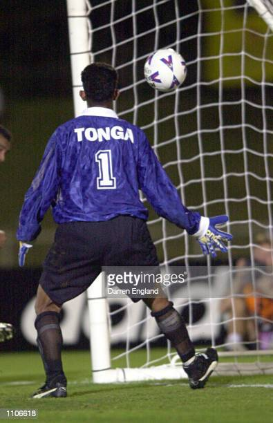 Tongan Goalkeeper Tuahiva Finefeuiaki watches as another Socceroo goal go in the net during the Oceania group one World Cup qualifier match between...