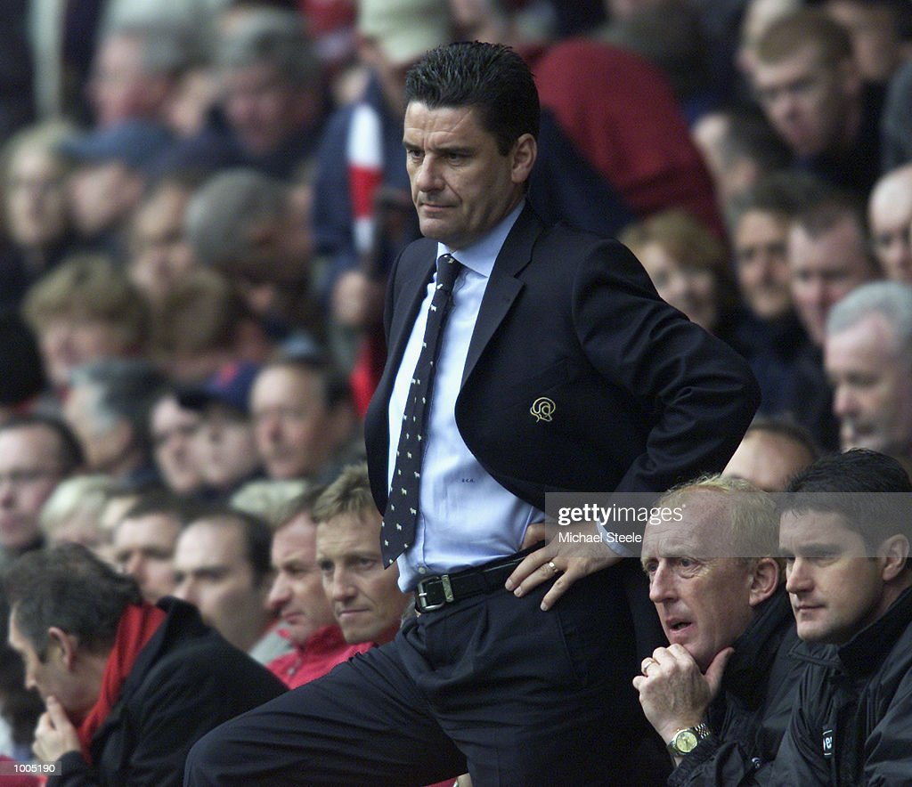 A dejected John Gregory of Derby during the Liverpool v Derby County FA Barclaycard Premeirship match at Anfield, Liverpool. DIGITAL IMAGE Mandatory Credit: Michael Steele/Getty Images
