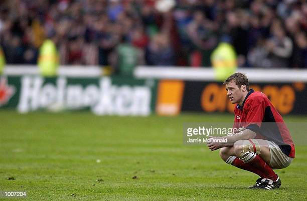 Dejected Mark Jones of Llanelli after lossing by a point during the Heineken Cup Semi Final match between Leicester Tigers and Llanelli at The City...
