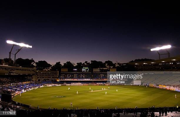 General view of the ground at night as the test match continued under lights during the 4th day of the New Zealand v England 3rd Test Match at Eden...