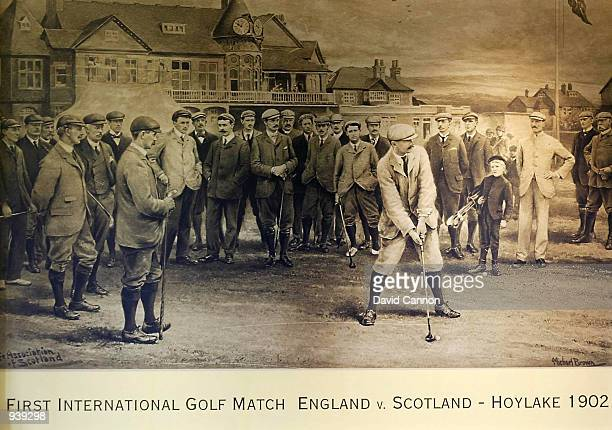 Picture of the first International Golf Match in the world that took place between England and Scotland at Royal Liverpool Golf Club in Hoylake,...