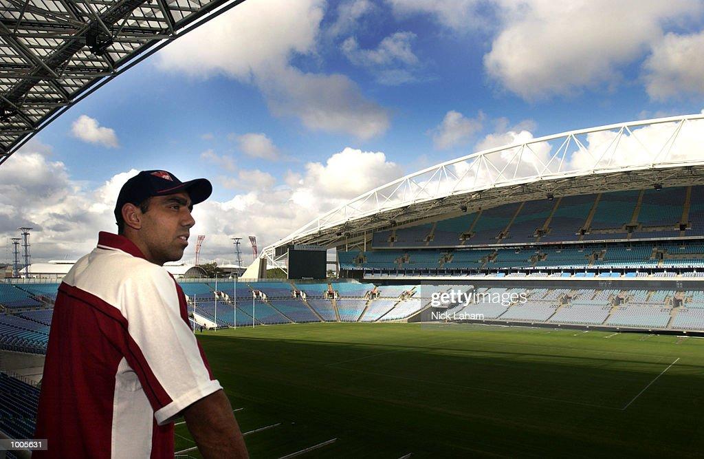 Adam Goodes of the Sydney Swans looks at Stadium Australia's AFL ground configuration during an AFL press conference at Stadium Australia, Sydney, Australia. DIGITAL IMAGE Mandatory Credit: Nick Laham/Getty Images
