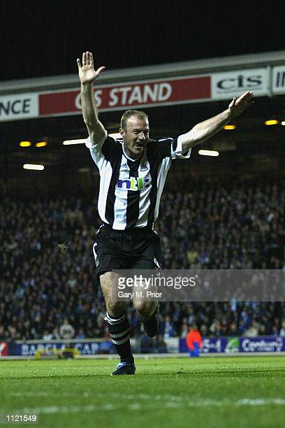 Alan Shearer of Newcastle celebrates after scoring the equalising goal during the Blackburn Rovers v Newcastle United FA Barclaycard Premiership...