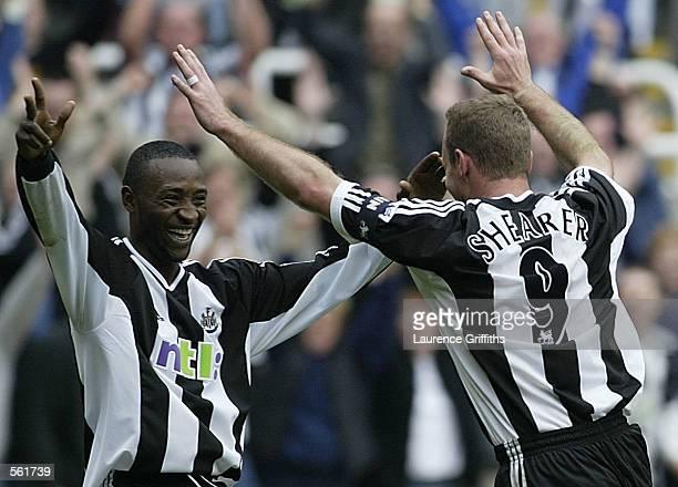 Alan Shearer of Newcastle celebrates his 200th League goal with Lomana Lualua during the Newcastle United v Charlton Athletic FA Barclaycard...
